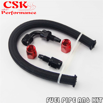 1FT AN6 Stainess Steel Braided Oil Fuel Hose+ 90 Deg & Straight Swivel Fittings fittings and braided hose