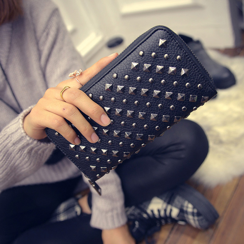 Carteiras de luxo mulheres carteira designer rebite marca feminina mulher bolsas billetera mujer marcas famosas 2019 porte feuille femme