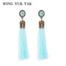 wing yuk tak 2017 Cute Vintage Crystal Round Flowers Long Tassel Earrings For Women Fashion New Jewelry Pendientes Flecos
