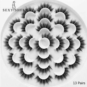 Image 2 - SEXYSHEEP 8/13 זוגות פו 3D מינק ריסים טבעי ארוכים נפח מזויפים איפור הארכת ריסים maquiagem