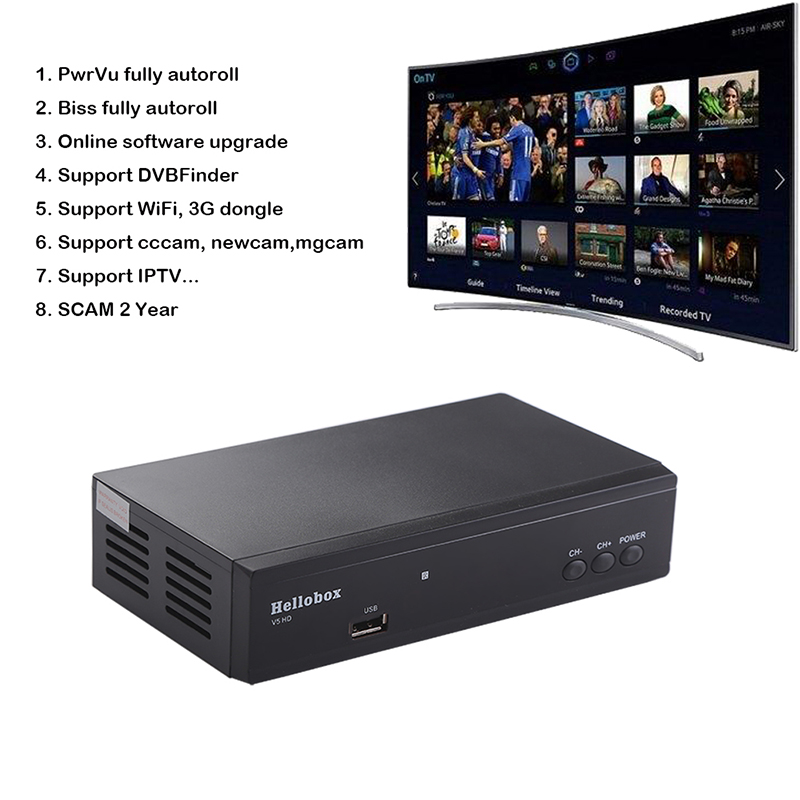 US $30 38 38% OFF|Hello box V5 Satellite Receiver DVBS2 IPTV Online  Software Upgrade Support CCCAM Newcam Mgcam SCAM 2 Year TV BOX-in Satellite  TV