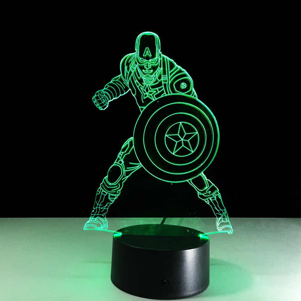Capitão América Marvel Guerra Civil 7 Mudança da Cor de Luz 3D Ilusão Bulbificação Lâmpada Estudantes Crianças Lâmpada de Cabeceira Presente do Dia Das Bruxas