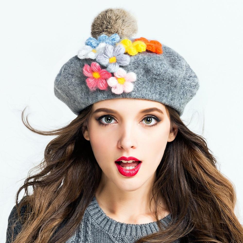 2016 Autumn Winter Warm Wool Women Beret hats for Laday Artist Soft Beanie Hat Female Cap  DIY Handmade Flower Fur Pom Poms Cap stylish bowknot wool beret