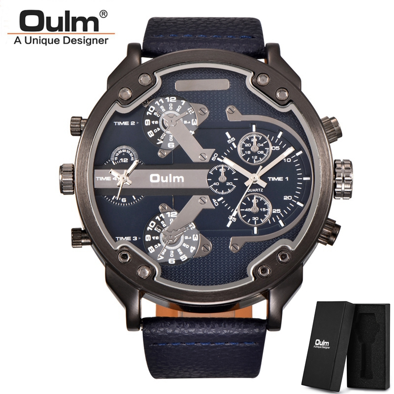 Oulm Classic Multiple Time Zone Men's Watches Super Big Dial Male Sport Watch Luxury Brand Casual Leather Quartz Watch