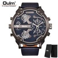 Oulm Klassische Multiple Time Zone herren Uhren Super Große Zifferblatt Männlichen Sport Uhr Luxus Marke Casual Leder Quarzuhr-in Quarz-Uhren aus Uhren bei