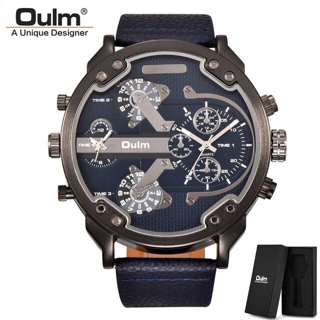 Oulm Klassische Multiple Time Zone herren Uhren Super Große Zifferblatt Männlichen Sport Uhr Luxus Marke Casual Leder Quarzuhr