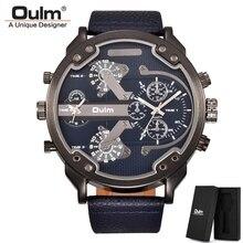 Oulm clássico múltiplo fuso horário relógios masculinos super grande dial masculino esporte relógio de luxo marca casual couro quartzo relógio