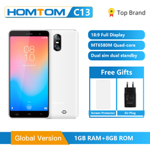 2019 Global Version HOMTOM C13 Android GO Smartphone 5.0 inch MT6580M Quad Core Cell Phone 3G WCDMA 1GB RAM 8GB ROM Mobile Phone