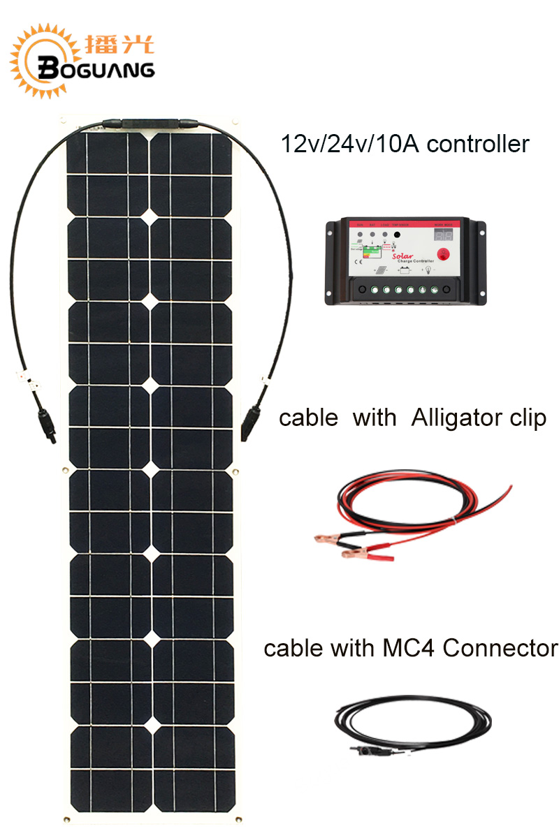 Boguang 50w solar panel cell Monocrystalline silicon module 10A controller MC4 cable connector 12v battery led light RV charge