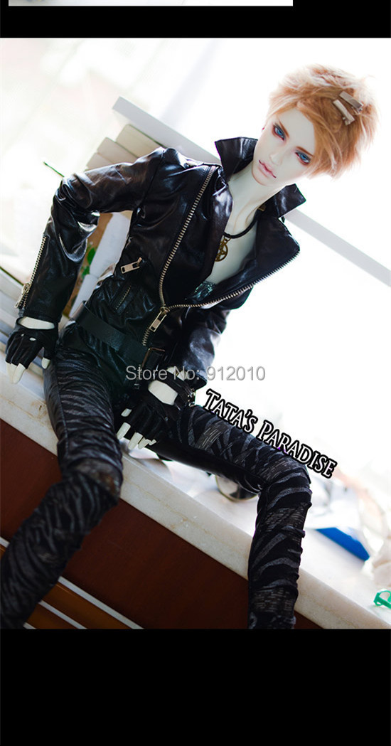 Cool Metal Zipper Motorcycle Leather Jacket for BJD 1/4,MSD 1/3, SD17 Uncle,SSDF,SD Doll Clothes CM1 new handsome fashion stripe black gray coat pants uncle 1 3 1 4 boy sd10 girl bjd doll sd msd clothes