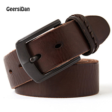 GEERSIDAN New men belt cow genuine leather luxury strap male for fashion classice vintage metal pin buckle dropshipping