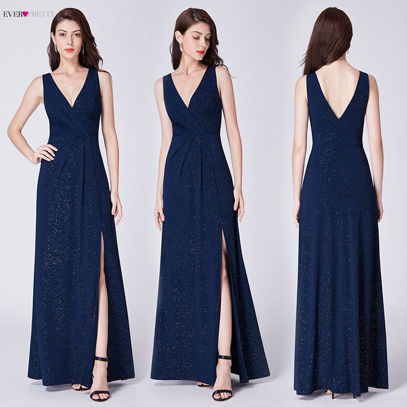 Evening Dresses Long 2020 Ever Pretty EP07505 A-line Cheap V-neck Long Gillter Side Split Long Sexy Evening Gowns for Ladies