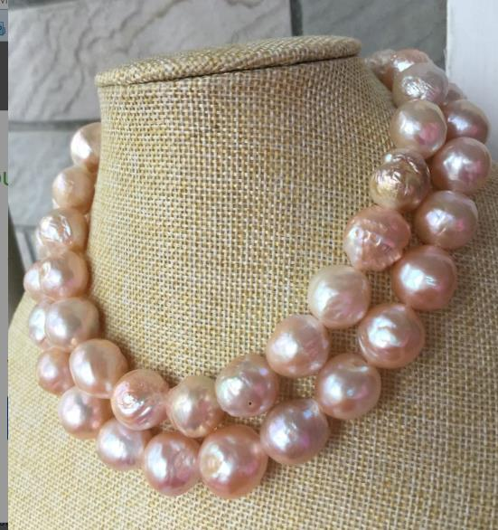 gorgeous 14-15MM SOUTH SEA BAROQUE GOLD PINK PEARL NECKLACE 38INCH 925silvergorgeous 14-15MM SOUTH SEA BAROQUE GOLD PINK PEARL NECKLACE 38INCH 925silver