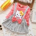 2017 Spring Summer Autumn KT Cat Baby Girl Dress Long Sleeve 1 Year Baby Birthday Dress Strap Plaid Infant Girl Dresses