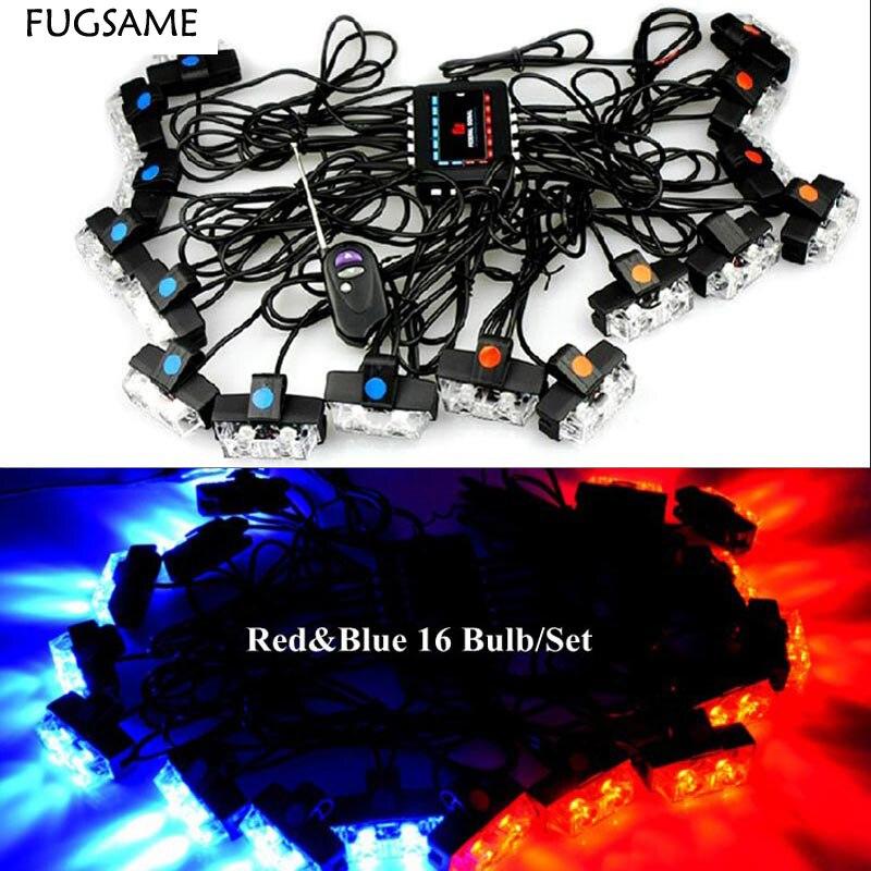 FUGSAME Беспроводная из светодиодов аварийного Строб предупреждение вспышка высокой мощности 32 Вт Гриль свет Световая 16LEDs