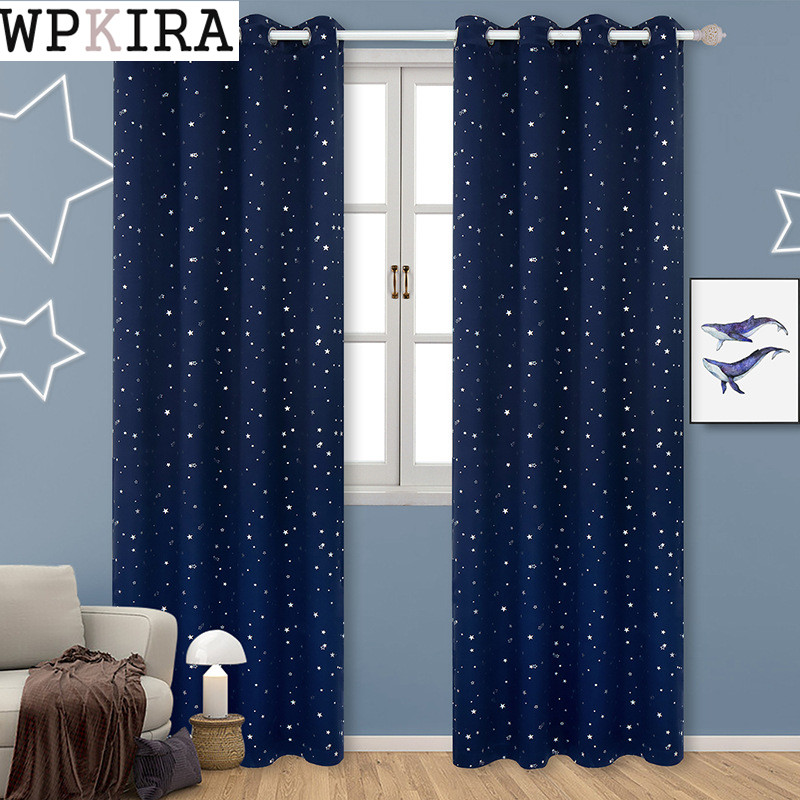 Curtains For Kids Boy Room Knight Horse Window Bedroom: Navy Blue Star Curtains For Kids Room Lovely Printed