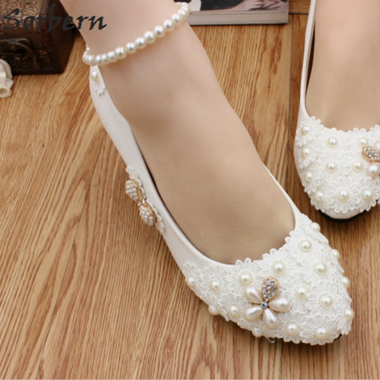 Sorbern Crystal Beading Bridal Wedding Shoes Lace Applique White Womens  Pumps Rhinestone Shoes Women Ladies Party Shoes-in Women s Pumps from Shoes  on ... e1f0567a1b33