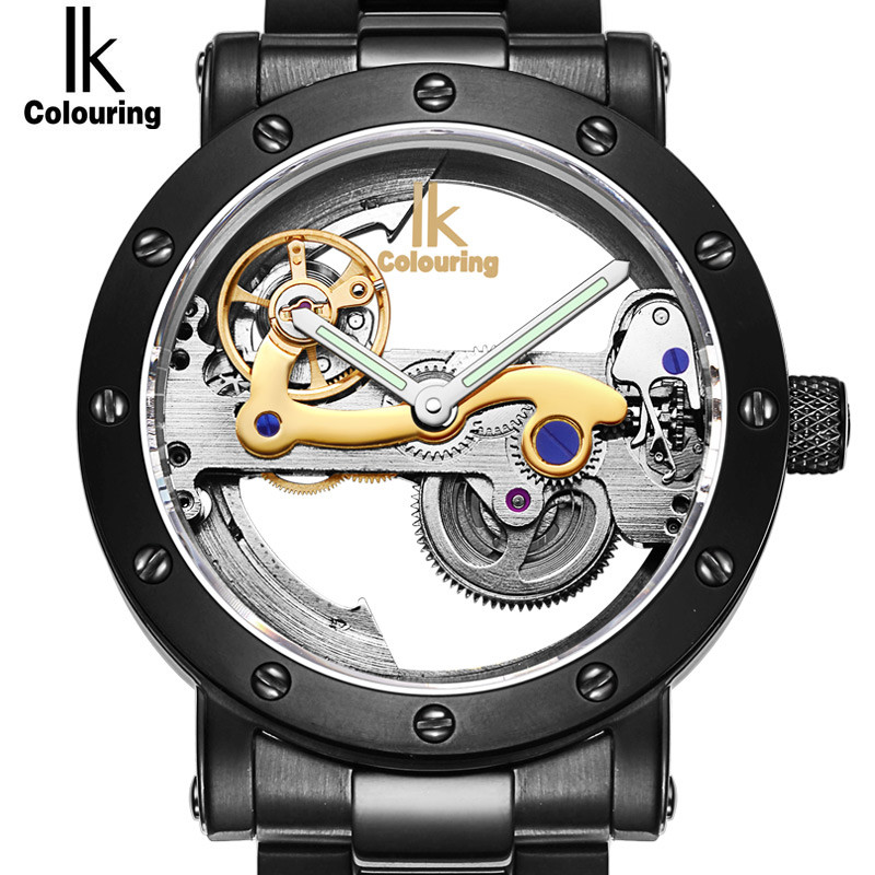 IK Colouring Automatic Mechanical Mens Watch Skeleton Black Military Stainless Steel Waterproof WristWatch Relogio Masculino wholesale wilon mens stainless steel mechanical skeleton watch