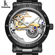 IK Colouring Automatic Mechanical Mens Watch Skeleton Black Military Stainless Steel Waterproof WristWatch Relogio Masculino