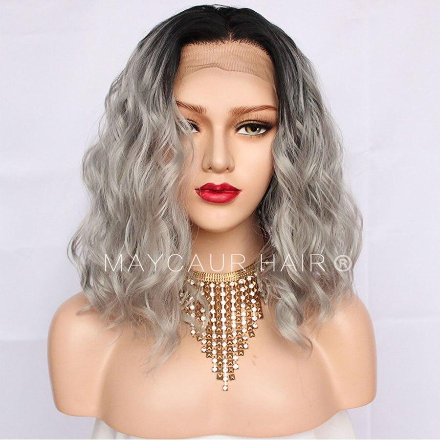 Maycaur Ombre couleur noir gris synthétique dentelle avant perruques cheveux courts ondulés résistant à la chaleur Fiber gris perruque pour les femmes