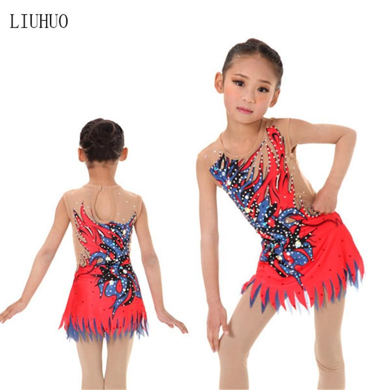 Girl Women rhythmic gymnastics performance suit Artistic gymnastics dress Round neck sleeveless Red purple pattern