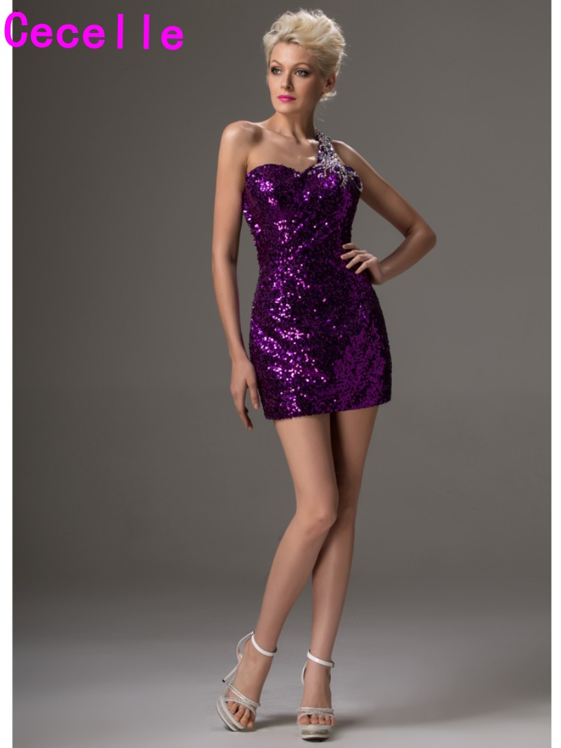 Sexy open back purple sequins cocktail dresses one shoulder beaded sexy open back purple sequins cocktail dresses one shoulder beaded sparkly short mini prom dresses tight fitted party dresses in cocktail dresses from ombrellifo Image collections