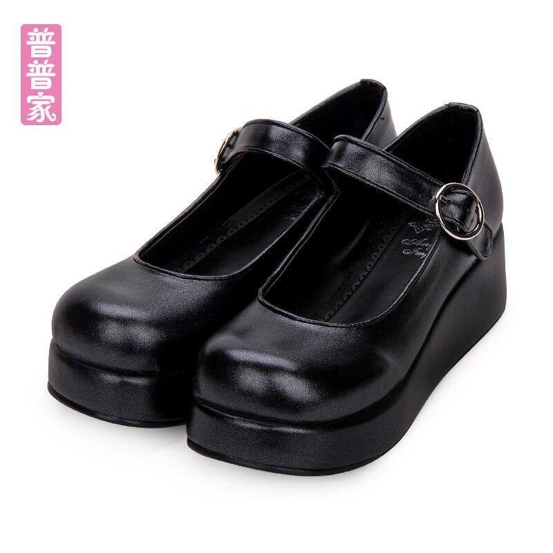 Princesse douce lolita chaussures Printemps et automne collage vent toutes les sélections quotidien éponge gâteau fond épais poupée chaussures femmes pu6016