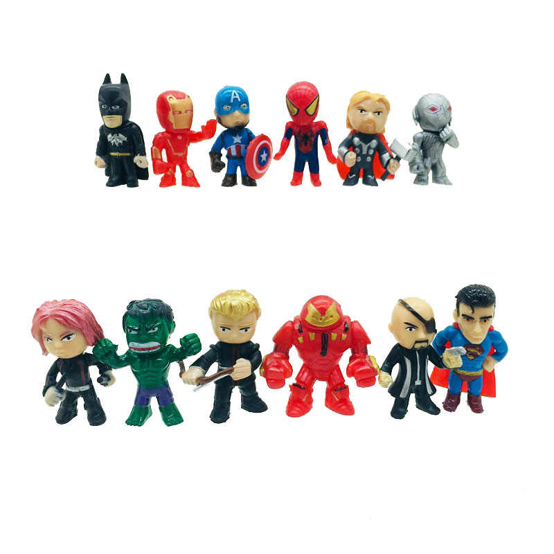 12pcs/set the Marvel Avengers mini Figures Batman Hulk Thor