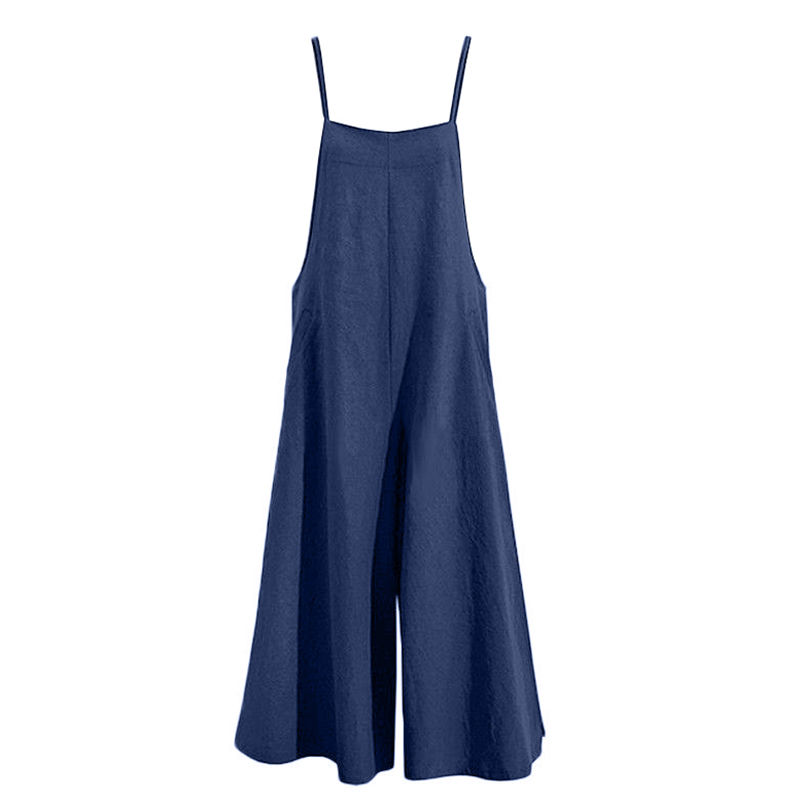 HTB1ebIXBNuTBuNkHFNRq6A9qpXaV - Elegant Fashion Women Cotton Linen Long Wide Leg Romper Strappy Bib Overalls Casual Loose Solid Simple Jumpsuit Trousers Suit