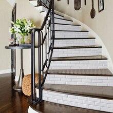 6 шт Белая кирпичная кладка 3D лестницы наклейки Self клейкие плитки наклейки на стену Водонепроницаемый лестница настенные художественные украшения для дома