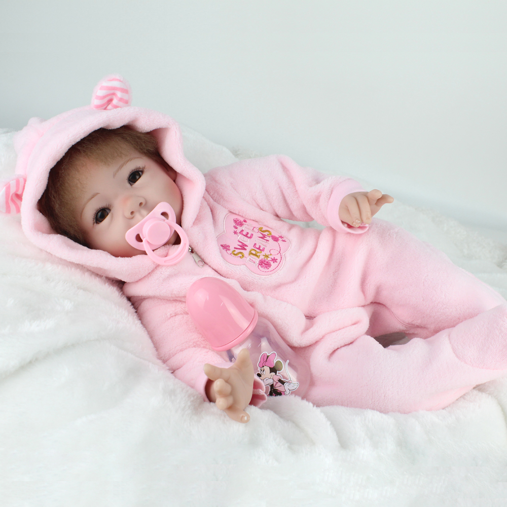 55cm 22 inch Silicone Reborn Baby Dolls Cloth Body Realistic Handmade Realistic Kids Reborn Babies Girls Lifelike Toys Gift ucanaan reborn baby dolls realistic soft cloth body handmade lifelike reborn babies doll toys baby sleeping partners 50 55cm