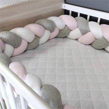 1 M/2 M/3 M Bebê Pára De Cama Trança Nó Travesseiro Coxim Amortecedor para Bebe Infantil Berço protetor de Berço Adesivos Decoração do Quarto