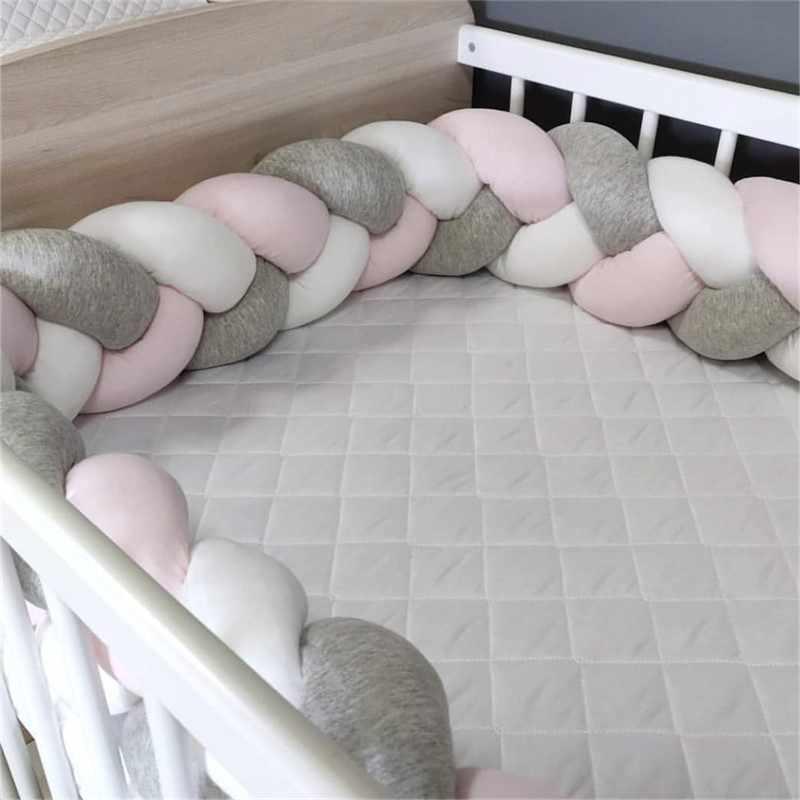 1 M/2 M/3 M bebé parachoques cama trenzada nudo almohada cojín parachoques para bebé cuna Protector cuna parachoques decoración de la habitación