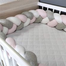 1M/2M/3M Baby Bumper Bed Braid Knot Pillow Cushion Bumper for Infant Bebe Crib Protector Cot Bumper Room Decor(China)