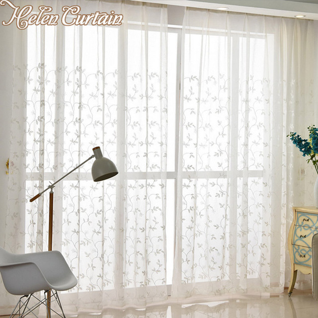 kitchen sheers rectangular table helen curtain embroidered white tulle for living room window treatment hc530