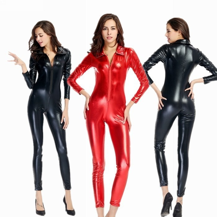Halloween Adult Women Black Red PU Patent Leather Catsuit jumpsuit <font><b>Sexy</b></font> <font><b>Catwoman</b></font> <font><b>Costume</b></font> Cat Bodysuit Stretchable Open Crotch image