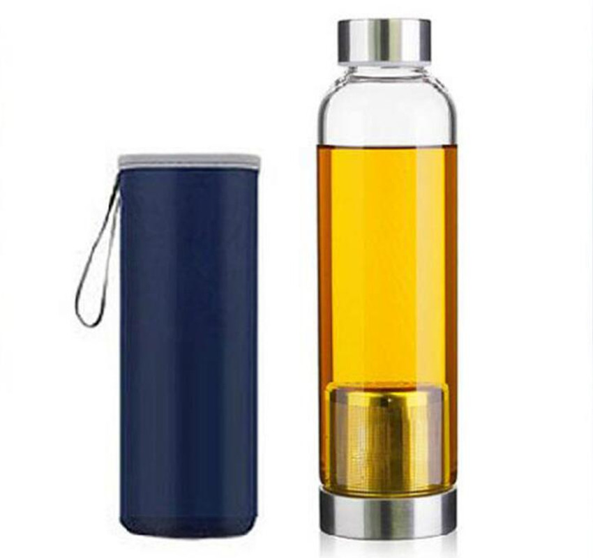 420/550ML My Sport Portable Real Borosilicate Glass Cup Water Bottle filter Tea Travel Mug With Handle Bottle Infuser