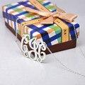 925 Sólida pulseira de Prata Do Monograma Nome Colar Personalizado de Jóias Colar Inicial