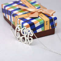 925 Solid Silver Monogram Name Necklace Personalized Initial Jewelry Colar