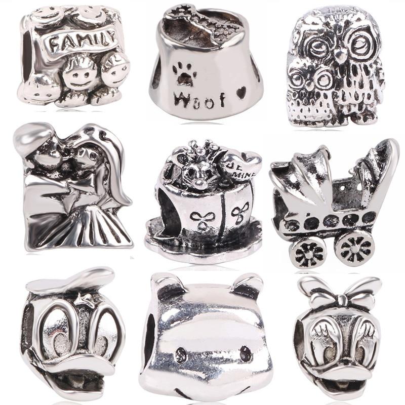 Dodocharms Silber Farbe Europäische Eule Maus Ente Kinderwagen Bär DIY Bead & Schmuck Kennzeichnung Für Pandora Charme Armbänder