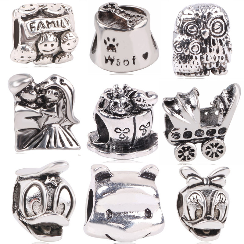 dodocharms Silver Color European Owl Mouse Duck Baby Carriage Bear DIY  Bead Jewelry Marking For Pandora Charm Bracelets 500809d72