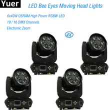 4Pcs/Lot Flight Case Bee Eyes 6x40w LED Beam Moving Head Light Zoom Wash Eye DMX Stage Disco Christmas Party DJ
