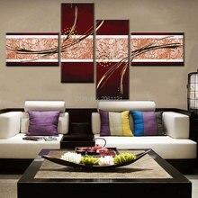 Hand machte modulare wandmalerei abstrakte braun leinwand malerei sorrel wandbilder für wohnzimmer dekoration 4 kombination