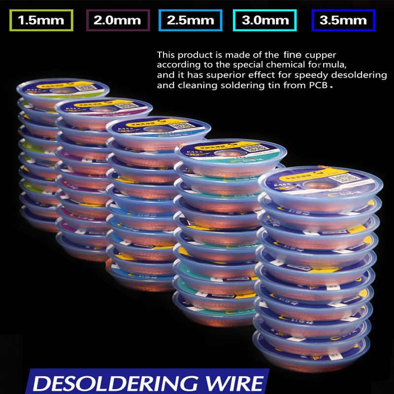 Mecânico original solda wick desoldering trança 1.5 2.0 2.5 3.0 3.5mm desoldering fio de cobre para pcb bga ferramenta de reparo de solda