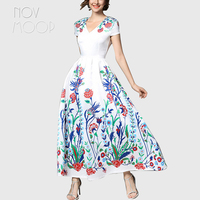 Summer women blossom floral print cotton maxi dress V Neck white long pleated fit and flare sundress robe femme plus size LT2128