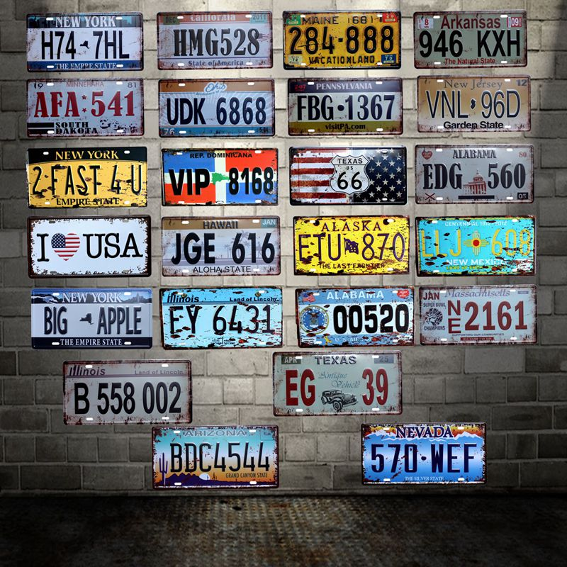 [ WellCraft ] America cities License plate signs Wall Plaque Poster Decor for Internet Cafes Room Iron Painting HY-1707 image