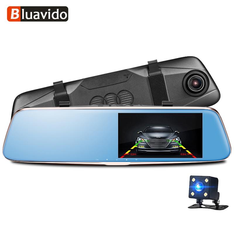 Bluavido Recorder 1296P Rearview-Mirror Parking-Monitor Video-Camera G-Sensor Car-Dvr