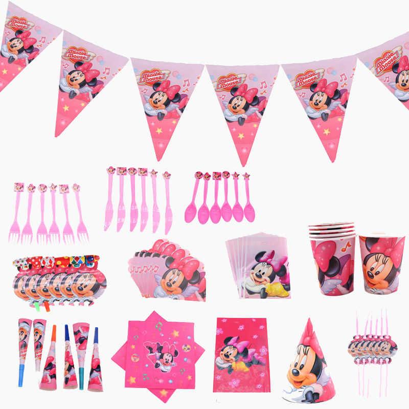 Minnie Mouse Conjuntos de Louças Tema da festa de Aniversário Decoração Para Meninas Bolo Topper Descartáveis Fontes Do Partido Decoração de Casa