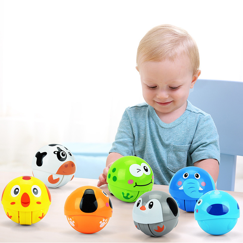 Baby Rattles Mobiles Toddler Toys Play Rattle Sliding Education Children Newborns Plastic Cartoon Animal Nodding Tumbler Rolling ...