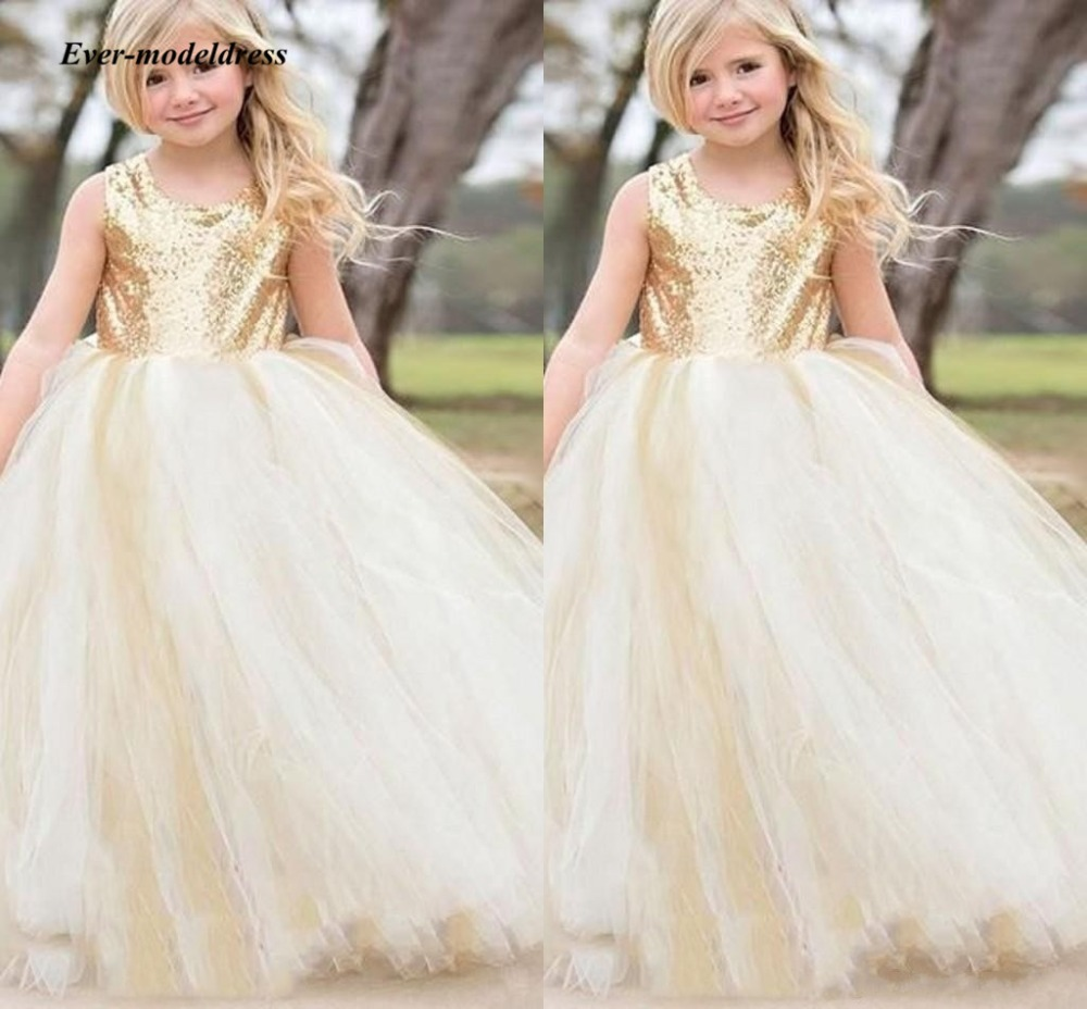 Gold Sequin   Flower     Girl     Dresses   For Wedding 2018 Chmpagne Scoop Ball Gown Lace Appliques   Girls   First Communion Gowns